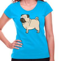 Camiseta turquesa de manga corta Diseño gracioso de Perro Pug Carlino caricatura - Mujer