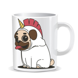 Taza de cerámica Dibujo de Pug Carlino Unicornio