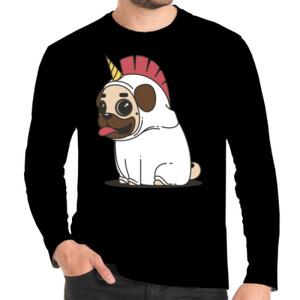 Camiseta manga larga con Dibujo de Pug Carlino Unicornio - Hombre