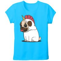 Camiseta con Dibujo de Pug Carlino Unicornio - Tallas grandes