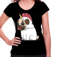 Camiseta manga corta con Dibujo de Pug Carlino Unicornio