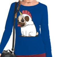 Camiseta manga larga con Dibujo de Pug Carlino Unicornio