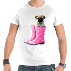 Camiseta manga corta Cachorro Pug Carlino dentro de bota de agua