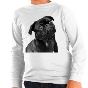 Camiseta Manga Larga Diseño Perro Carlino Pug de color negro - Niño